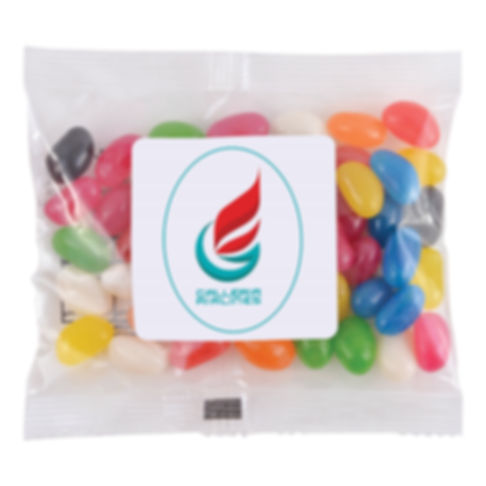 50 grams cello bag of Assorted Mini Jelly Beans. Mix of 9 great colours and flavours - Orange (Orange), Pink (Raspberry), White (Lychee), Red (Strawberry), Green (Apple), Yellow (Lemon), Black (Aniseed), Purple (Grape), Blue (Blueberry).