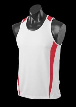 1104 Mens Eureka Singlet White-Red