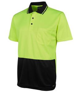 6HJNC Hi Vis Jacquard Non Cuff Polo Lime-Black
