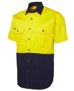 6HWS Hi Vis SS 190G Shirt Yellow-Navy