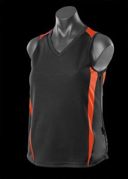 2104 Ladies Eureka Singlet Black-Orange