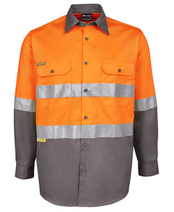 6DNWL Hi Vis LS (D+N) 150G Work Shirt Orange-Charcoal