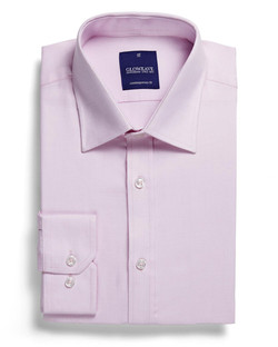 Mens 1709L LS Micro Step Textured Plain Shirt Pink
