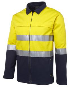 6HD4J Hi Vis Cotton Jacket Yellow-Navy
