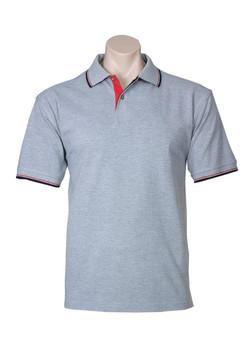 p9300 Mens Nautilus Polo Grey Marle-Red-Black