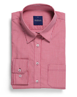 Ladies 1637WHL LS Gingham Check Hospitality Shirt Crimson