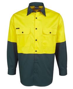 6HWSL Hi Vis LS 150G Shirt Yellow-Bottle