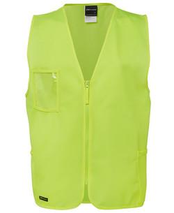 6HVSZ Hi Vis Zip Safety Vest Lime