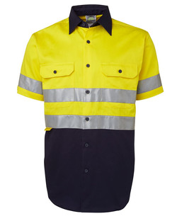 6HSS Hi Vis (D+N) SS 190G Shirt Yellow-Navy
