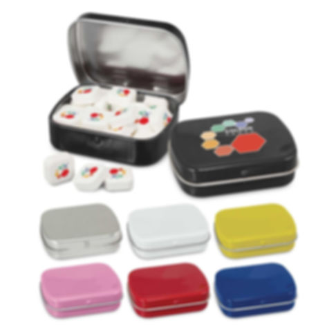 Rectangular tin with a hinged lid which is filled with 18 grams of delicious square mints that are digitally printed in full colour with an edible food grade ink. The price includes one artwork design per order on the mints and the tin can be branded in stunning full colour for maximum impact. Ingredient information is included on the bottom of the tin and it is shrink wrapped to seal in freshness.