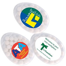 Oval mint dispenser with snap lock opening. Contains approximately 30 sugar free mints. Finished weight 14 grams.