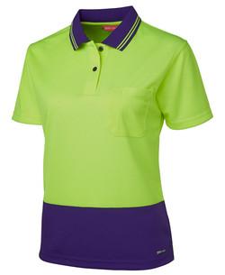 6LHCP Ladies Hi Vis SS Comfort Polo Lime-Purple