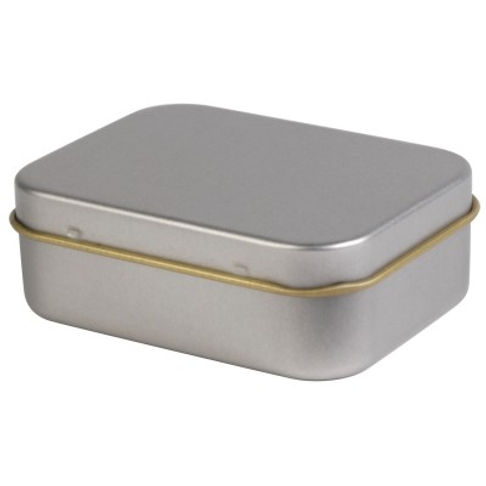 2 piece silver rectangular tin with gold tin lining and rolled rim.