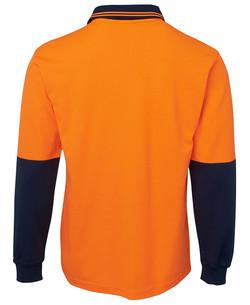 6HPL Hi Vis LS Cotton Back Polo Back