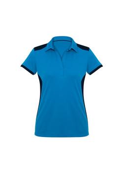 Biz P705LS Ladies Rival Polo Shirt Cyan_Navy