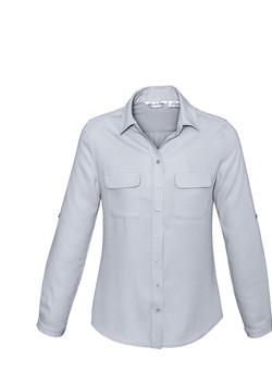S626LL Ladies Madison Long Sleeve Blouse Silver Mist