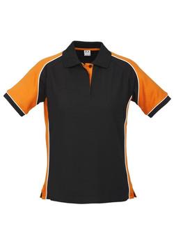 p10122 Ladies Nitro Polo Black-Orange-White