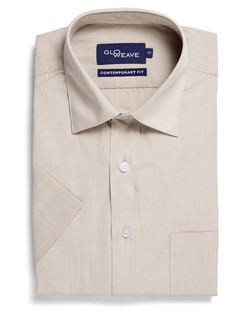 Mens 1267S SS Puppy Tooth Check Shirt Taupe