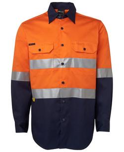 6DNWL Hi Vis LS (D+N) 150G Work Shirt Orange-Navy