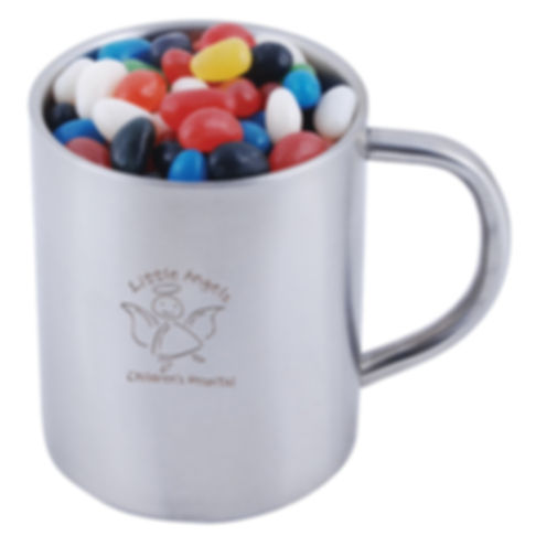 280 grams of Assorted Mini Jelly Beans shrink wrapped in Stainless Steel Double Wall Barrel Mug. Mix of 9 great colours and flavours - Orange (Orange), Pink (Raspberry), White (Lychee), Red (Strawberry), Green (Apple), Yellow (Lemon), Black (Aniseed), Purple (Grape), Blue (Blueberry).