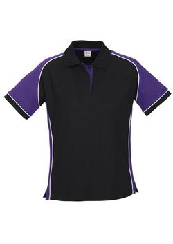 p10122 Ladies Nitro Polo Black-Purple-White
