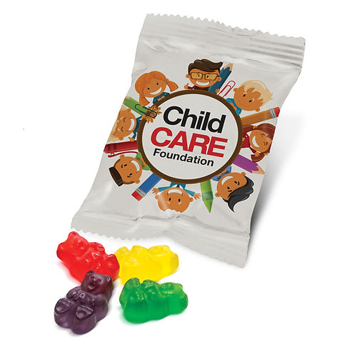 14 gram, treat size bag of delicious assorted Gummy Bears which is branded all over in full colour. Ingredient information is printed on the back of the pack and a production lead time of 15 working days applies to this product. This item can only be ordered in the quoted order quantities.
