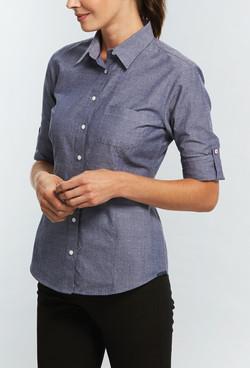 Ladies 1713WHL Spot Dobby Denim Hospitality Shirt Slate A