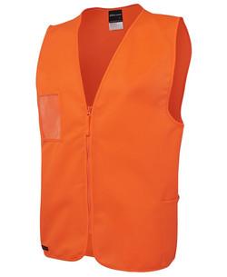 6HVSZ Hi Vis Zip Safety Vest Orange