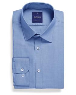 Mens 1708L LS Micro Brick Textured Plain Shirt Blue
