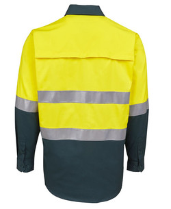 6DNWL Hi Vis LS (D+N) 150G Work Shirt Back
