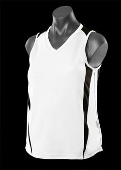 2104 Ladies Eureka Singlet White-Black