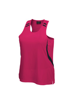 Biz LV3125 Ladies Flash Singlet Hot Pink-Black