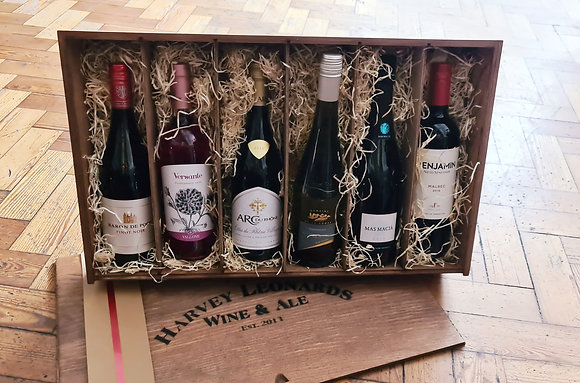 Impressive 6 Bottle Festive Wooden Case