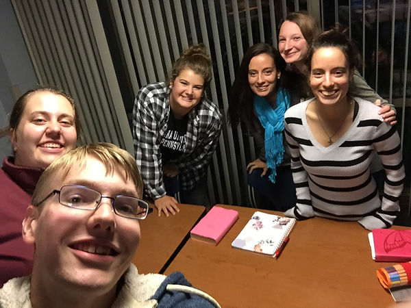 Students at a community group/ Bible study at Delaney
