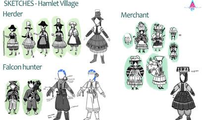 Hamlet Villagers sketches