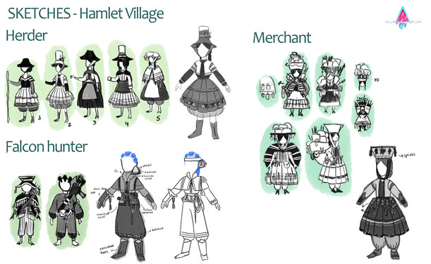 Hamlet Villagers sketches