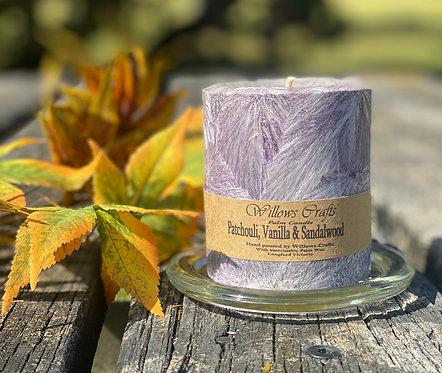 Patchouli, Sandalwood & Vanilla Small Pillar Candle