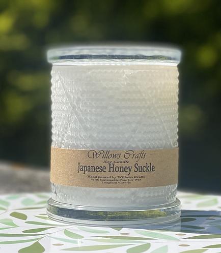Large Japanese Honey Suckle White Pattern Jar