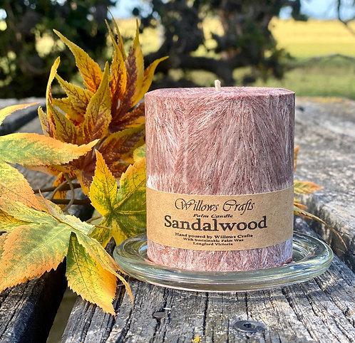 Sandalwood Pillar Candle Small Brown