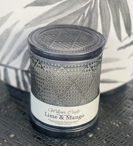 Large Lime & Mango Black Pattern  Jar