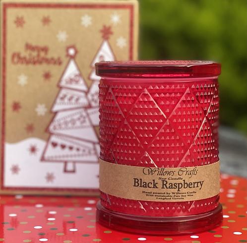 Large Black Raspberry Red Pattern Jar