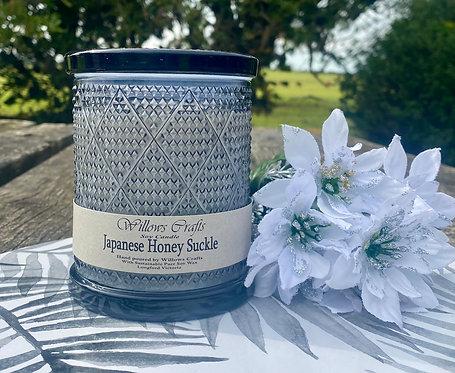 Large Japanese Honey Suckle Black Jar