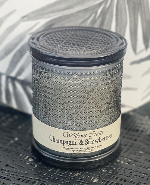 Large Champagne & Strawberries Black Pattern Jar