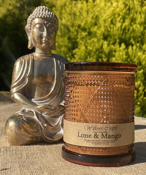 Large Lime & Mango Amber Pattern  Jar