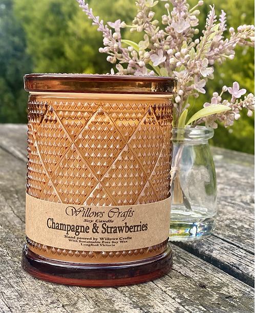 Large Champagne & Strawberries Amber Pattern Jar