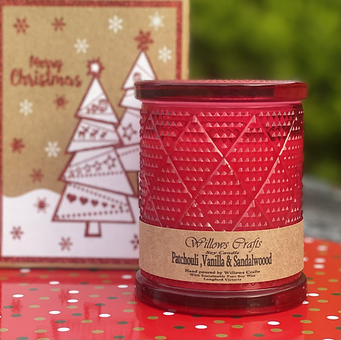 Large Vanilla, Sandalwood & Patchouli Red Pattern Jar