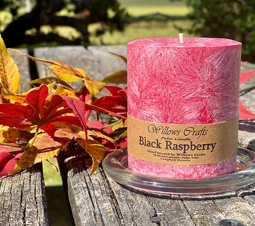 Black Raspberry Pillar Small Candle Red