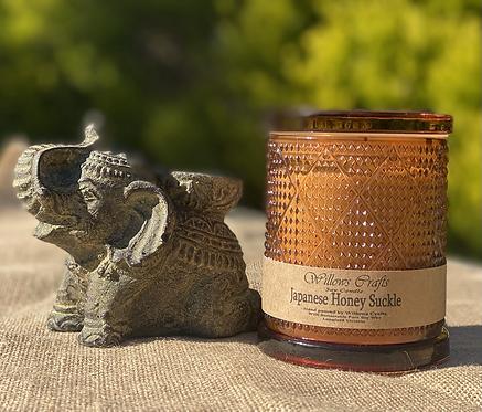 Large Japanese Honey Suckle Amber Pattern Jar
