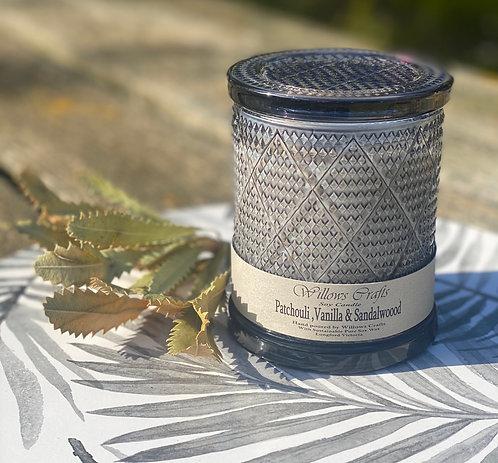 Large Vanilla, Sandalwood & Patchouli Black Pattern Jar