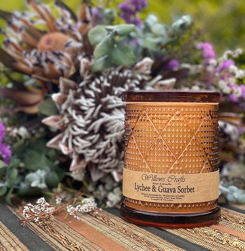Large Lychee & Guava Sorbet Amber Pattern Jar